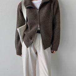 MERONGSHOP - Stand-Collar Zip-Up Cardigan