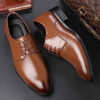 Taragan - Faux Leather Lace-Up Derby Shoes