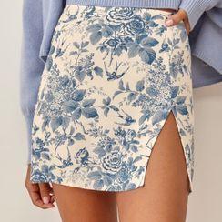 Seventh Snow - Floral Slit Mini Skirt