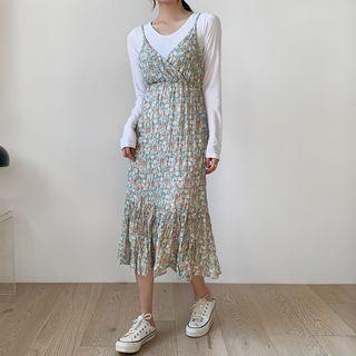 Envy Look(エンビールック) - Floral Print Crinkled Dress