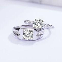 FOON - 925纯银情侣款水钻开口戒指