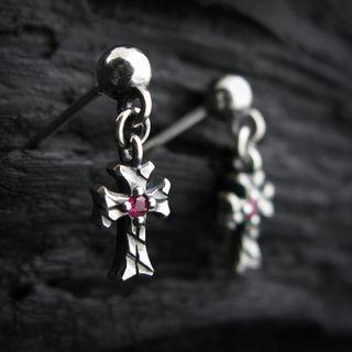 Sterlingworth - Engraved Sterling Silver Cross Earring - Ruby (Single)