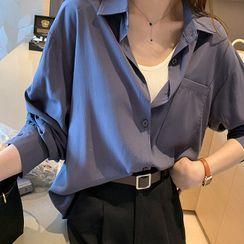 Happo - 長袖純色襯衫