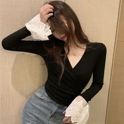 Bestcat - Lace Cuff Long-Sleeve Shirred Top
