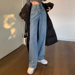 Dute - Washed Wide Leg Jeans