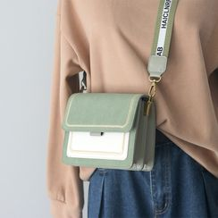 Melomi - Embroidered Faux Leather Crossbody Bag