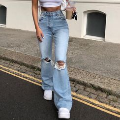 Honet - 做旧靴形牛仔裤