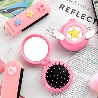 Hekki - Foldable Portable Mirror with Hair Brush