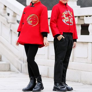 Snow Castle - Kids Long-Sleeve Frog-Buttoned Dragon Embroidered Top / Chinese Style Long-Sleeve Phoenix Embroidered Top / Harem Pants / Set