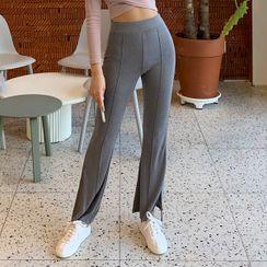 UUZONE - Slit-Hem Seam-Front Boot-Cut Pants