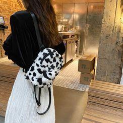 Eastin - Cow Print Fluffy Backpack