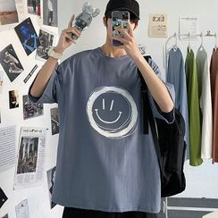Tonni's - Smiley Face Print Elbow-Sleeve T-Shirt