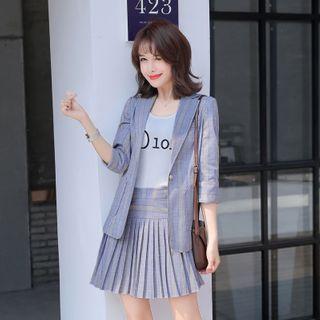 Princess Min - 格子西装外套 / 迷你A字打褶裥裙 / 西裤 / 套装