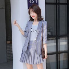 Princess Min(プリンセスミン) - Plaid Blazer / Mini A-Line Pleated Skirt / Dress Pants / Set