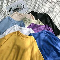 CooLook - Elbow-Sleeve Plain T-Shirt