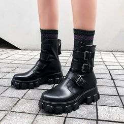 JY Shoes - Buckled Platform Short Boots