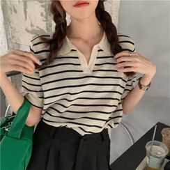 monroll - Short-Sleeve Striped Knit Top