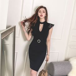 Elmiko - Sleeveless Lace Trim Cutout Mini Bodycon Dress