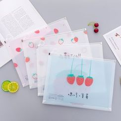 Fun House - Strawberry Print Transparent A4 Document Pouch