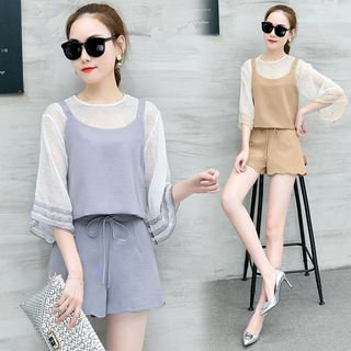 Sienne - Set: 3/4 Sleeve Chiffon Top + Camisole Top + Scallop Hem Shorts