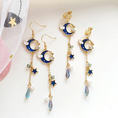 Siatra - Winged Moon & Star Glass Bead Drop Earrings