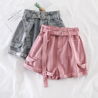 Miss Puff - Plain Wide-Leg Denim Shorts