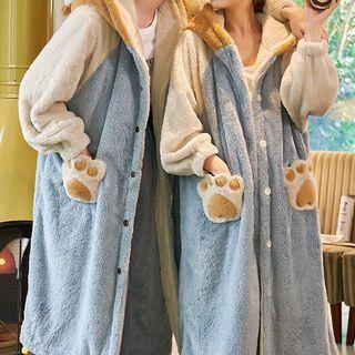 Jeony - Couple Matching Pajama Set: Paw Detail Hooded Fleece Robe + Pants