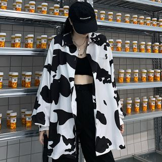 Ashlee - Long-Sleeve Oversize Cow Printed Shirt