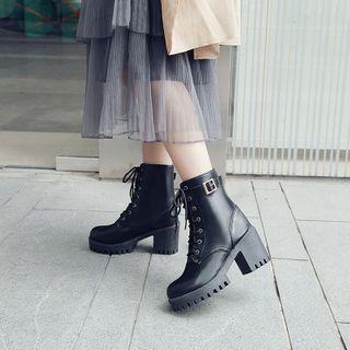 BARCA - Faux Leather Platform Block-Heel Lace-Up Short Boots