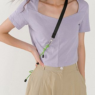 Heynew - Short-Sleeve Square-Neck Cropped Top