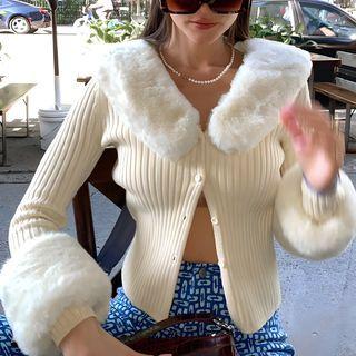 Femme Cradle - Fluffy Trim Cardigan