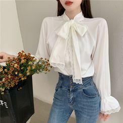 AMELA - Ribbon Tie-Neck Blouse / Single-Breasted Fleece Jacket