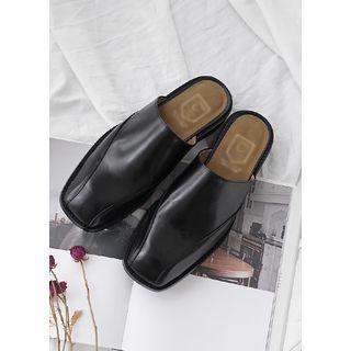 JOGUNSHOP - Square-Toe Genuine Leather Slide Loafers