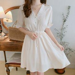 Aumoti - Short-Sleeve Mini A-Line Dress