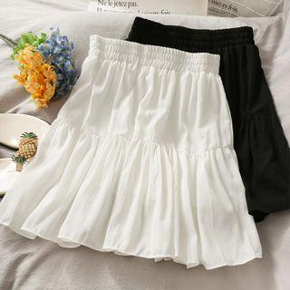 Lemongrass - Elastic High-Waist Plain Mini Skirt