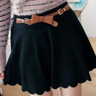 BAIMOMO - Scalloped-Hem Belted Skirt