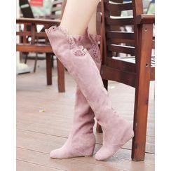 Blingon - 純色鏤空邊過膝靴