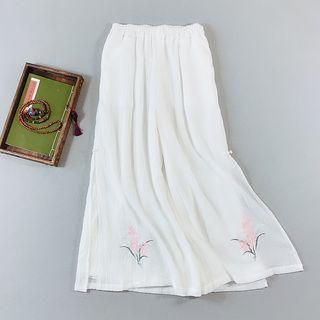 Vateddy - Embroidered Slit Wide-Leg Pants