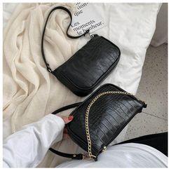 Shimme - Mini Croc Grain Chain Shoulder Bag