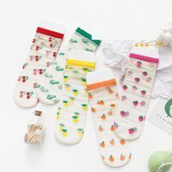 Lychee - Set of 4:  Fruits Print Socks