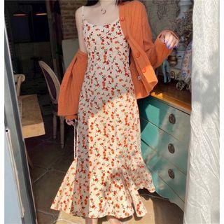 Moon City - Spaghetti Strap Floral Print Midi Mermaid Dress / Ribbed Cardigan