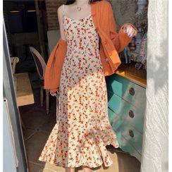 Moon City - Spaghetti Strap Floral Print Midi A-Line Dress / Ribbed Cardigan