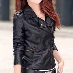 Triplgold - Faux Leather Biker Jacket