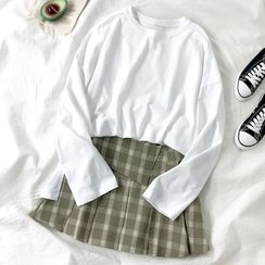HXT - 純色長袖T裇 / 格子打褶襉迷你裙