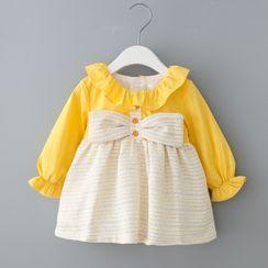 Mini Bae - Kids Ribbon Bell-Sleeve A-Line Dress