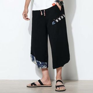 DuckleBeam - Printed Panel Cropped Wide-Leg Pants