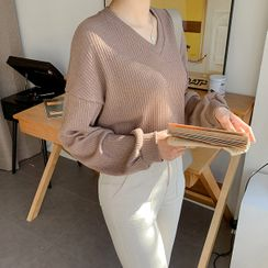 MERONGSHOP - V-Neck Colored Ribbed Sweater