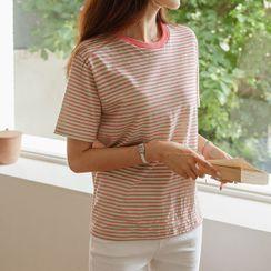 JUSTONE - Colored Round-Neck Stripe T-Shirt