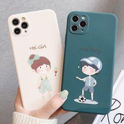 Mobby - Couple Matching Cartoon Phone Case - iPhone 11 Pro Max / 11 Pro / 11 / SE / XS Max / XS / XR / X / SE 2 / 8 / 8 Plus / 7 / 7 Plus