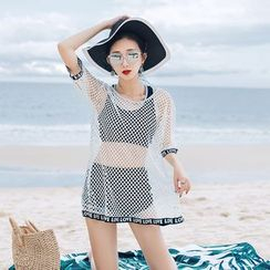 Morning Glory - Set: Elbow-Sleeve Mesh Cover-Up + Bra Top + Shorts